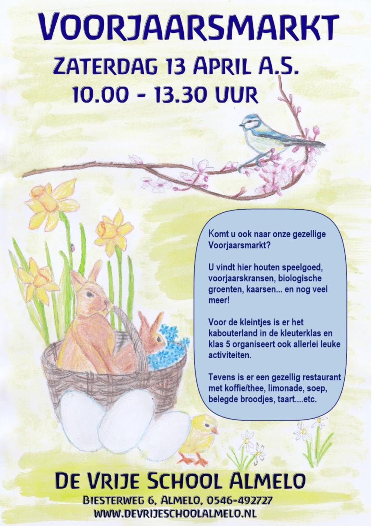 Voorjaarsmarkt zaterdag 13 april a.s. 10.00-13.30 uur