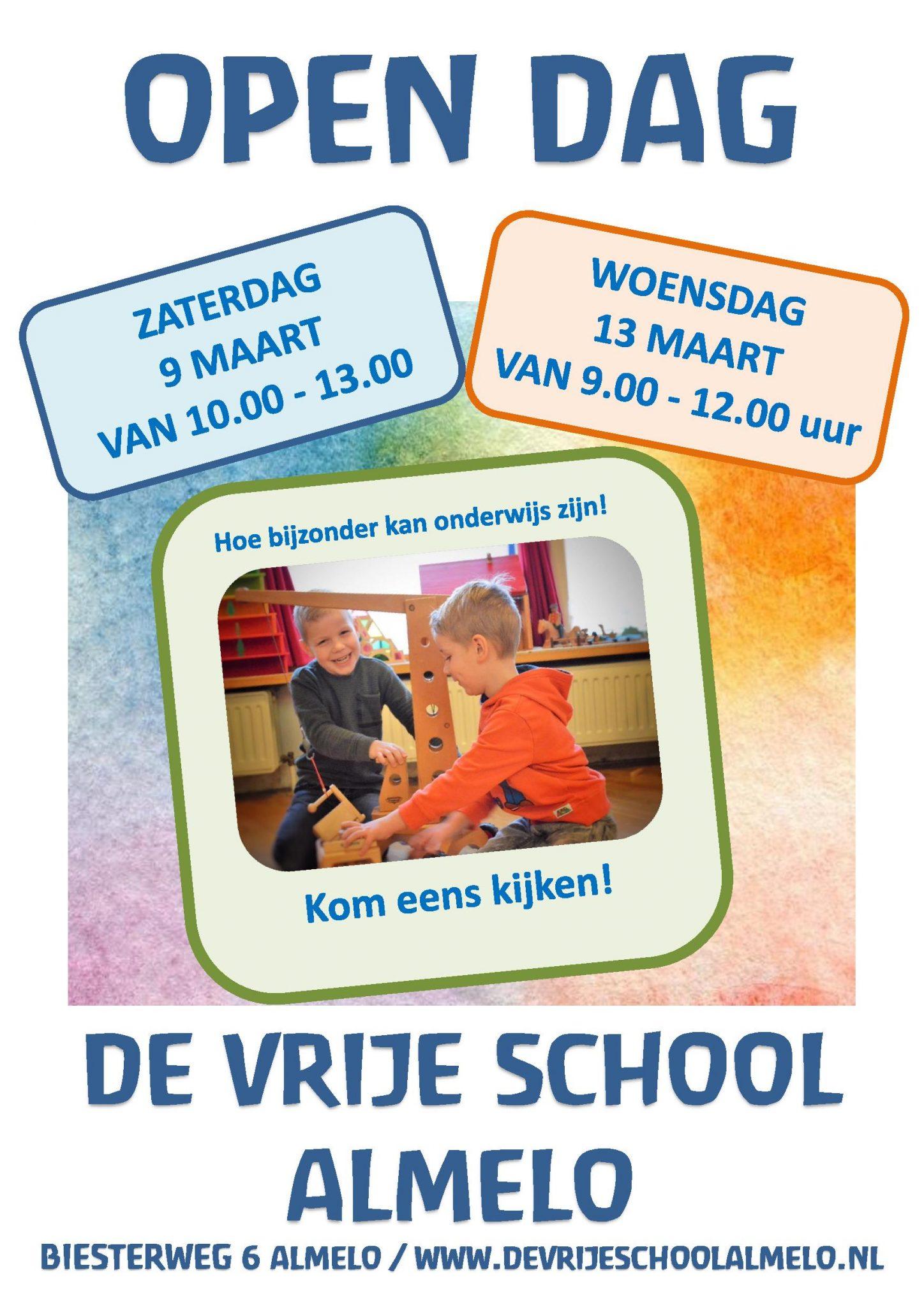 Open Dag zaterdag 9 maart en woensdag 13 maart a.s.
