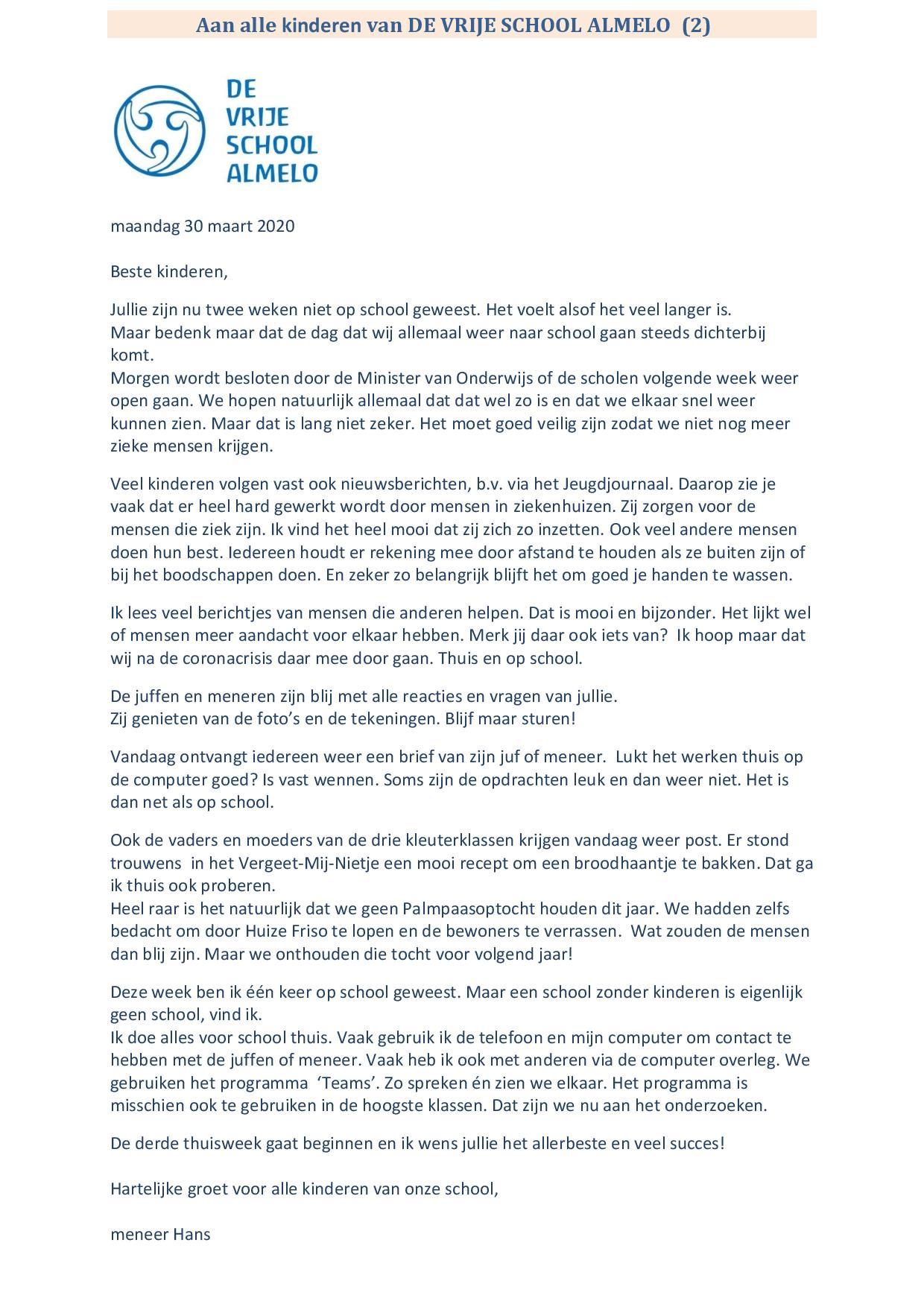 Brief voor alle kinderen van De Vrije School Almelo