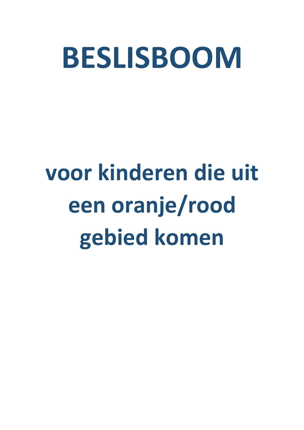 Beslisboom: Voor Kinderen Die Uit Een Oranje/rood Gebied Komen