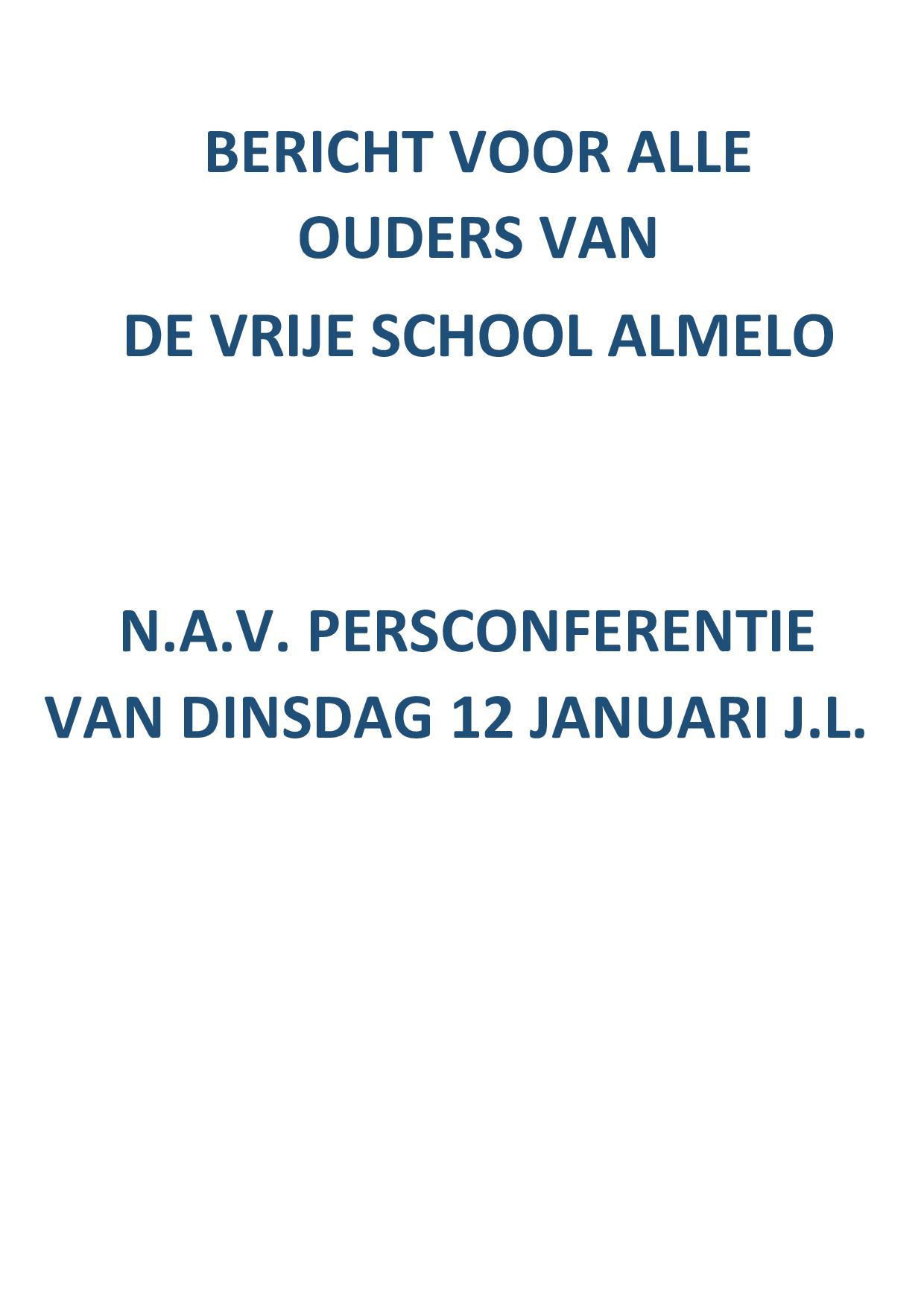 Bericht voor alle ouders van De Vrije School Almelo n.a.v. de persconferentie van 12-01-2021