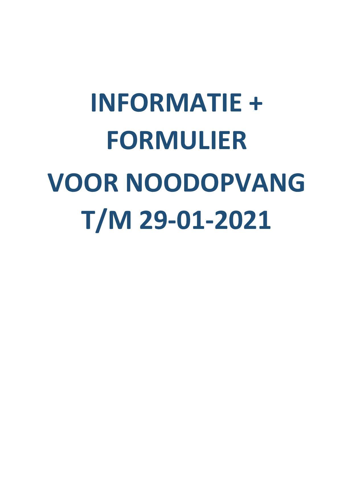 Informatie + formulier voor noodopvang t/m 29-1-2021