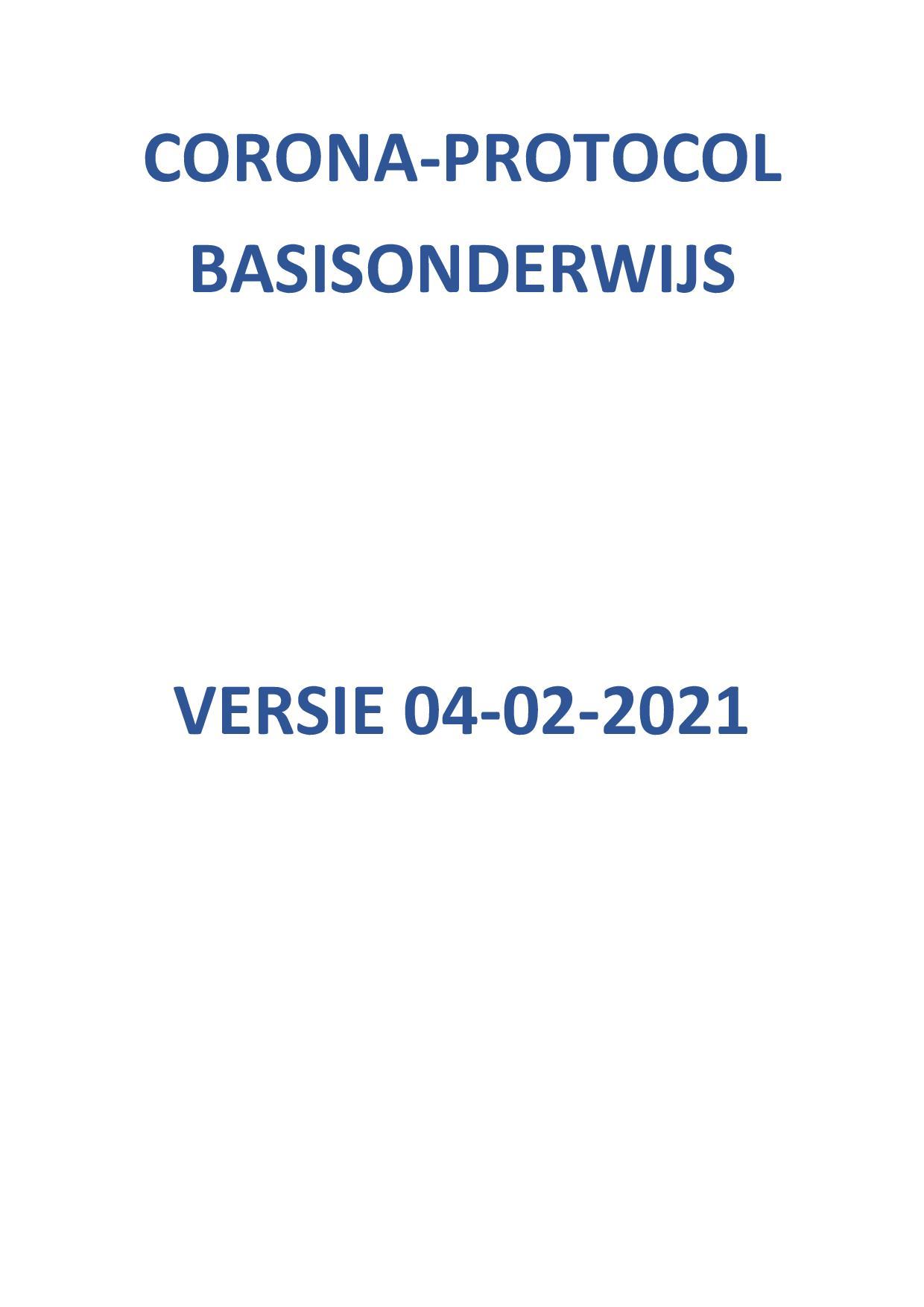 Corona-protocol Basisonderwijs Versie 4-2-2021