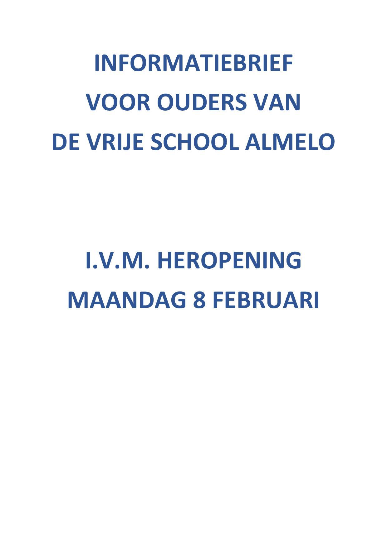 Informatiebrief Voor Ouders Van De Vrije School Almelo I.v.m. Heropening Op 8 Februari