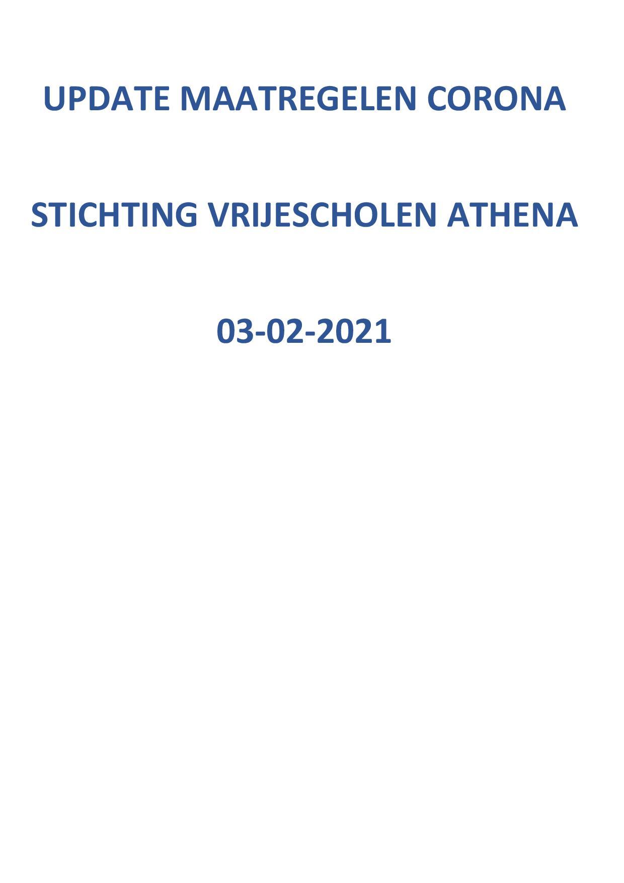 Update Maatregelen Corona Stg. Vrijescholen Athena 03-02-2021
